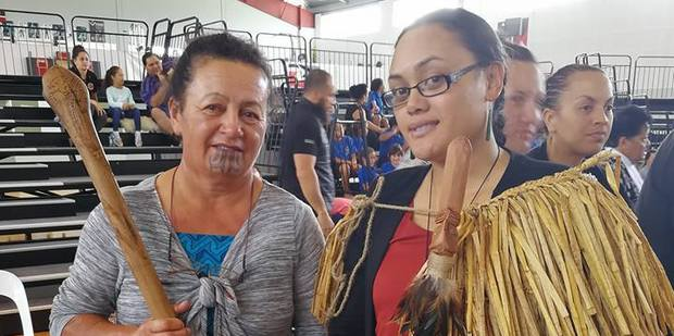 Hilda Halkyard-Harawira (with a hoe carved by Maori Erstich) and her successor, Irirangi Tawhara, wearing a kuta cape made by Aisha McManus (Ngai Takoto) and carrying a taiaha, Te Iri Kairangi, specially carved by Billy Harrison. Photo / Supplied