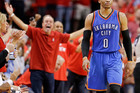 Oklahoma City Thunder guard Russell Westbrook at the end of the loss. Photo / AP