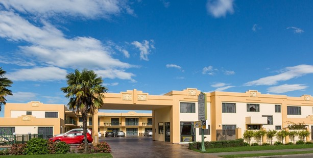 The front entry to the Deco City Motor Lodge, Onekawa, Napier. Photo / Supplied