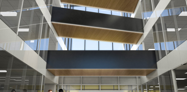 The east and west buildings will connected by air bridges running through this glass atrium. (Artist's concept).