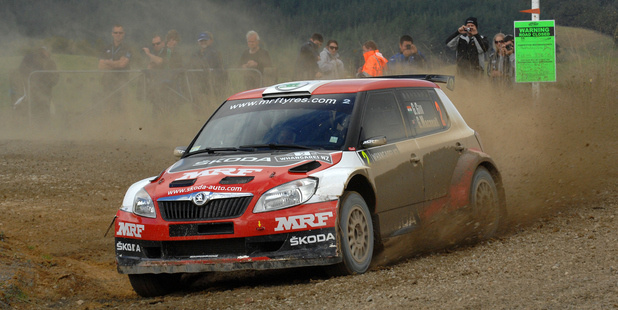 Gaurav Gill from India in his Skoda on Special Stage during Rally Whangarei 2013. Photo / Photosport