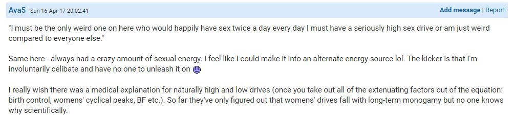 This user admitted she has a high sex drive. Photo / Mumsnet, Ava5