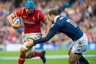 Scotland's Tim Visser tackles Wales' Justin Tipuric during Six Nations. Photo/Photosport
