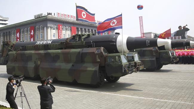 What could be an intercontinental ballistic missile is paraded across Kim Il-sung Square during a military parade in Pyongyang North Korea