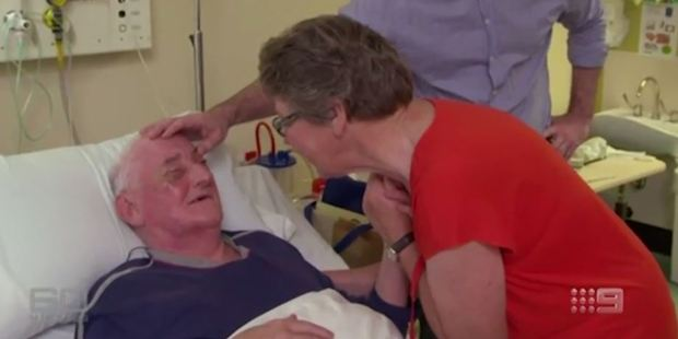 The man sobbed when he saw his wife for the first time in 16 years after surgery. Photo / Channel 9