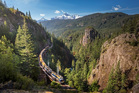 The Rocky Mountaineer train in British Columbia, Canada.