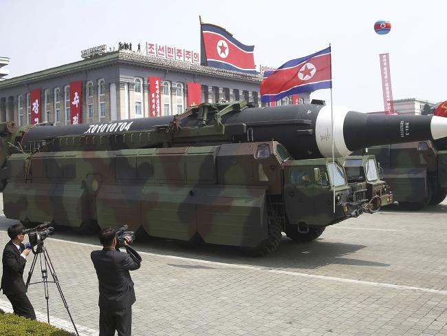 A North Korean KN-08 Intercontinental Ballistic Missile is paraded across Kim Il Sung Square during a military parade in Pyongyang on Saturday. Photo/AP