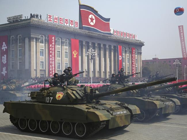 Soldiers in tanks take part in a military parade in Pyongyang. Photo/AP