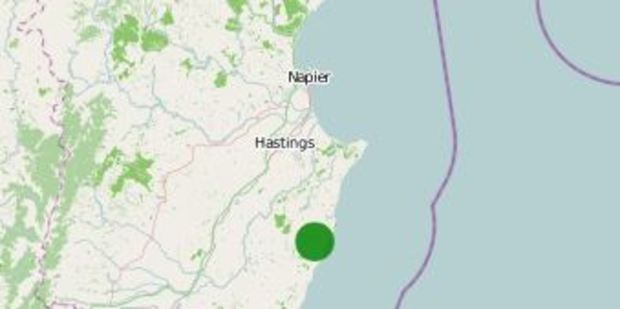 The earthquake was 25km south of Hastings. Image / GeoNet