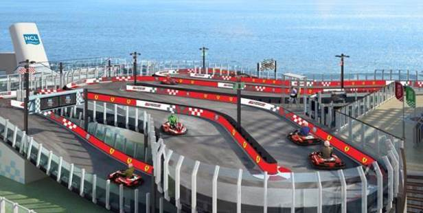 Norwegian Joy boasts an electric go-kart track on its top deck. Photo / Supplied