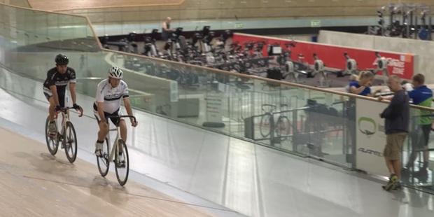 Michael van Enter and Reg Rye train for the World Masters Games at the Cambridge Avantidrome. Photo/NZ Herald Focus