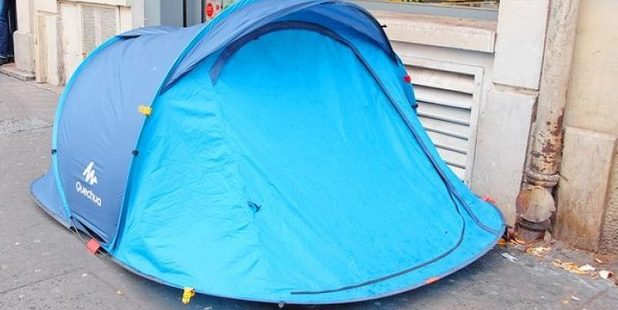 The tents pitched by the homeless along Colombo St outside the Metro Mart were potentially in breach of both the Freedom Camping Bylaw and the Public Places bylaw. Photo / Christchurch Star