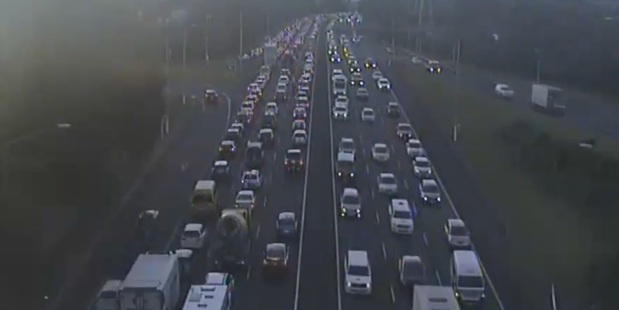 NZTA posted this clip of traffic moving slowly due to multiple motorway incidents. Photo/NZTA