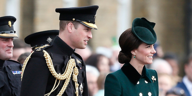 Loading Kate, The Duchess of Cambridge and Prince William, The Duke of Cambridge during St. Patrick's Day Parade at the Cavalry Barracks in London. Photo / AP