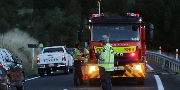 The scene of a fatal crash in Te Haroto this afternoon. Photo/Duncan Brown