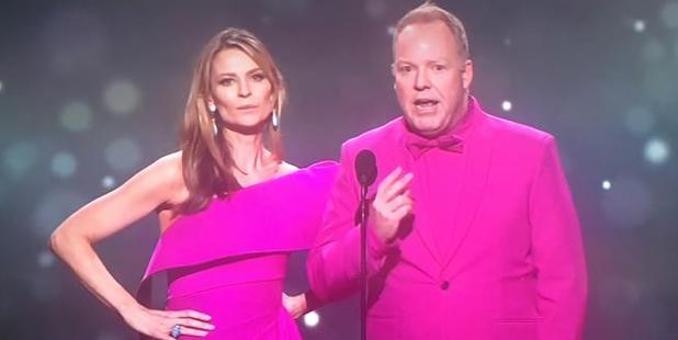 Loading Kat Stewart and Pete Helliar send up Amber Sherlock jacket incident at the 2017 Logies.