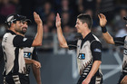 The Black Caps celebrate a wicket during a Twenty20 clash against South Africa. Photosport