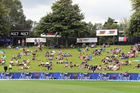 Cricket fans on the main embankment during the Seddon Park test between the Black Caps and South Africa. Photosport