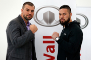 Razvan Cojanu and Joseph Parker face off during a press conference today. Photo / photosport.nz