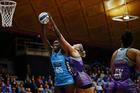 Jhaniele Fowler-Reid wins the ball against Leana de Bruin of the Stars. Photo / photosport.nz