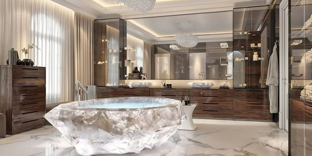 Washing the bank account clean: The much-anticipated XXII Carat villa complex on the celebrity-peppered Palm Jumeriah in Dubai boasts $1million bathtubs in the master bathrooms. Photo / XXII Carat
