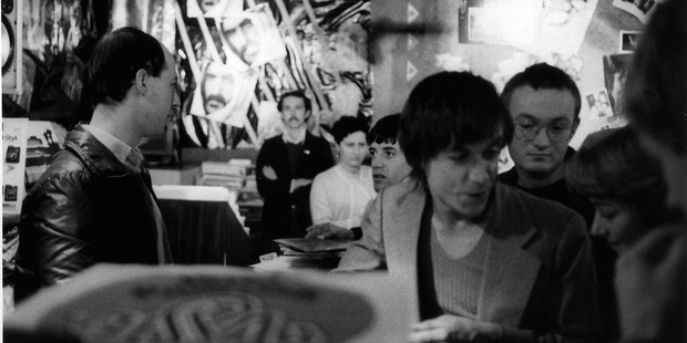 Loading Iggy Pop (foreground) at Taste Records in 1979 with writer David Herkt on Iggy's left. PICTURE / CHRIS SLANE/AUDIOCULTURE