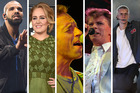 Drake, Adele, Coldplay, David Bowie and Justin Bieber were the top five most popular recording artists of 2016. Photo / AP, nzherald