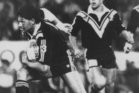 Hugh McGahan runs at the Australian line, watched by Clayton Friend during New Zealand's famous 1987 win.