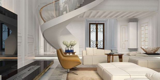 Spotless: A computer-generated image shows what a lounge area in one of the high-priced villas will look like, with high ceilings and clean white furnishings. Photo / XXII Carat