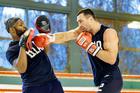Wladimir Klitschko in training for his blockbuster heavyweight fight against Anthony Joshua at Wembley. Photo / Photosport