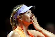 Russia's Maria Sharapova blows a kiss after winning 7-5, 6-3 against Italy's Roberta Vinci. Photo / AP