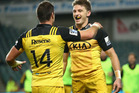 Beauden Barrett celebrating a Hurricanes try. Photo / Getty Images.