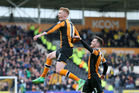 Hull City's Sam Clucas celebrates scoring his side's second goal of the game during their English Premier League match against Watford at the KCOM Stadium this morning (NZT). Photo / AP.