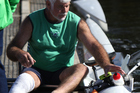 Aussie para rower Don Cameron disembarks his shell during World Masters Games rowing regatta. Photo/CMG Sports