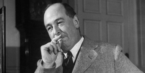 Educator C. S. Lewis dragging on cigarette during interview. Photo / Getty
