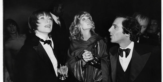 Shirley MacLaine, Farrah Fawcett and Steve Rubell at Studio 54 in 1977. Photo / Getty