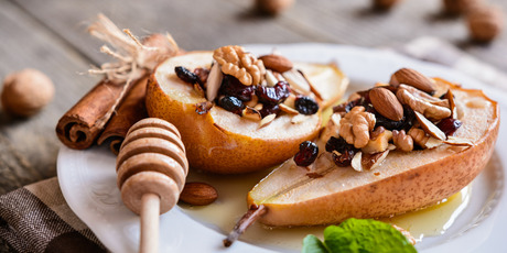 Baked pears are just one of many healthy dessert options. Photo / Getty Images