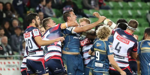 Loading Players fight during the round eight Super Rugby match between the Rebels and the Brumbies. Photo / Getty