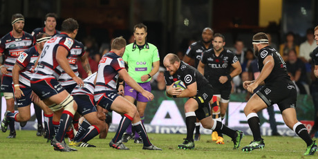 Lourens Adriaanse in action for the Sharks against the Rebels at Kings Park in Durban this morning (NZT). Photo / Getty Images.