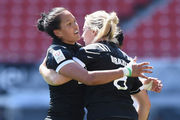 Black Ferns Sevens players celebrate. Photo / Getty