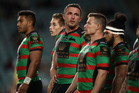 Sam Burgess and his Rabbitohs teammates during last night's 46-8 thrashing at the hands of the Sea Eagles in Sydney. Photo / Getty Images.