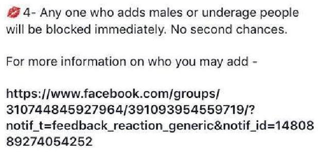 One of the rules bans males from being added or given any access to content from the group. Photo / Supplied