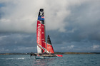 Emirates Team New Zealand took their maiden sail in Bermuda today, just 34 days out from the opening race of the America's Cup. Photo: Hamish Hooper/ETNZ