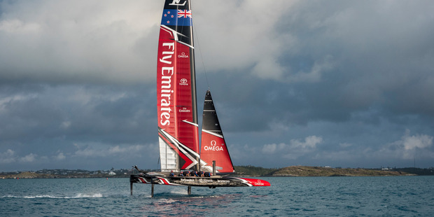 Loading Emirates Team New Zealand took their maiden sail in Bermuda today, just 34 days out from the opening race of the America's Cup. Photo: Hamish Hooper/ETNZ