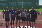 M50-54 discus competitors (from left): Finlay Abbot, Grant Chapman, Andy Richardson, Adrian Stockill, Piet van Rensburg and Rene Otto. Photo / Supplied.