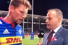 Sky Sport commentator Andrew Mulligan slurred his words during last night's interview. Photo / Sky Sport.