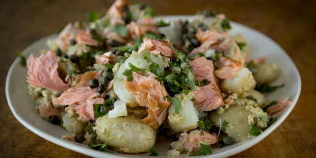 Potato salad with smoked salmon. Photo / Dean Purcell.