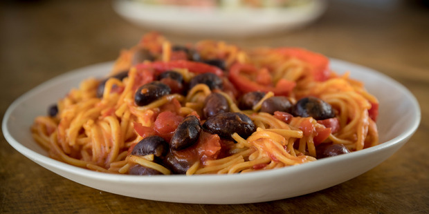 Spaghetti with capsicum and olives. Photo / Dean Purcell