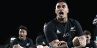 Jerome Kaino of the All Blacks performs the haka. Photo / Phil Walter