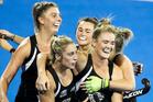 New Zealand celebrate a goal by Samantha Harrison. Photo / Photosport